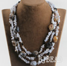three strand purple jade agate necklace