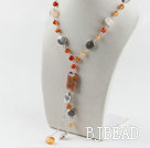 natural color agate Y shape necklace