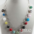 assorted multi color gemstone necklace(random color)