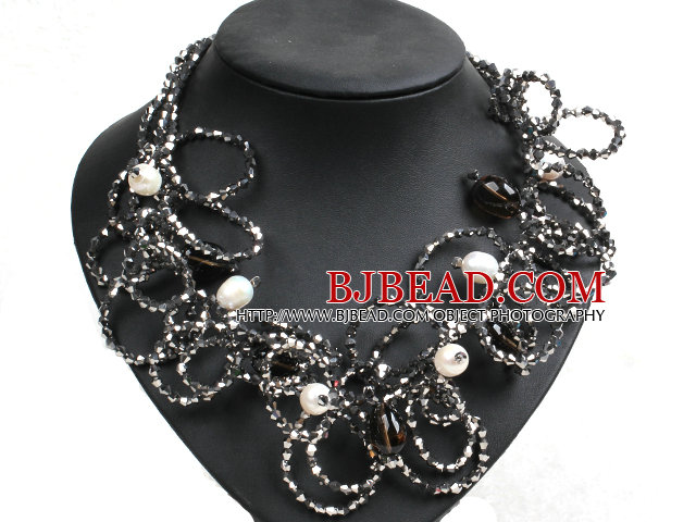 Speical Design Beautiful Natural White Pearl Smoky Quartz Gray & Black Crystal Statement Chunky Necklace