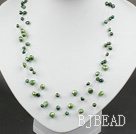 three strand green pearl necklace