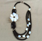 Graceful Multi Strand Black Agate Opal Stone Flower Party Necklace (Flower can be a Brooch)