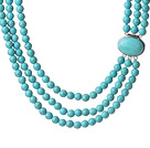 Trendy Elegant Style Three Layer Round Blue Turquoise Beaded Necklace