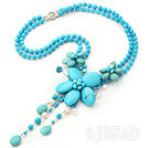New Style Blue Series White Pearl and Blue Turquoise Flower Necklace