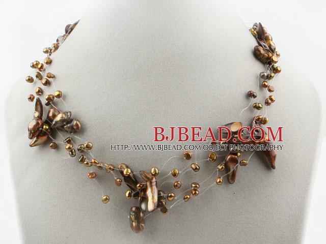Brown Series Multi Strands Teeth Shape Pearl Necklace