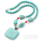 Assorted Turquoise and Red Coral Necklace with Square Turquoise Pendant under $ 40
