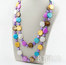 Assorted Flat Round Multi Color Shell Long Style Necklace
