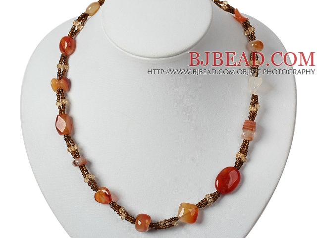 Golden Brown Coin Pearl Necklace with Yellow Color Metal Chain