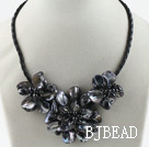Three Pieces of Black Pearl Shell Flower Necklace