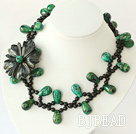 18 inches black agate and phoenix stone flower necklace with moonlight clasp