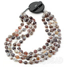 Four Strands Flat Round Persia Beads Necklace with Black Stone Clasp