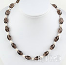 17.5 inches pearl and smoky quartz necklace with toggle clasp