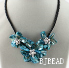 Three Pieces of Blue Pearl Shell Flower Necklace under $ 40