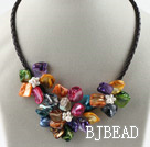 Three Pieces of Multi Color Pearl Shell Flower Necklace