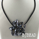 Single Piece Black Pearl Shell Flower Necklace under $ 40