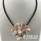 Single Piece Gray Pearl Shell Flower Necklace under $ 40