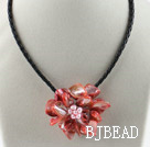Single Piece Red Pearl Shell Flower Necklace under $ 40