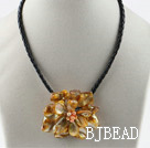 Single Piece Orange Pearl Shell Flower Necklace under $ 40