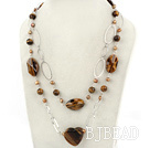 brown pearl and tiger eye necklace with metal chain