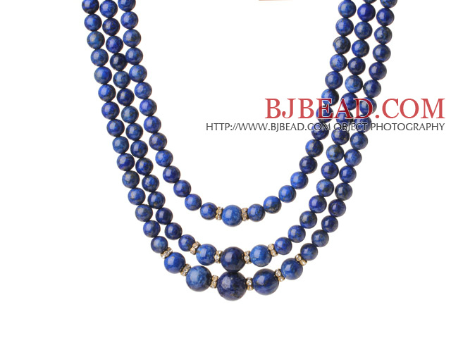 Trendy Elegant Style Three Layer Round Lapis Beaded Necklace