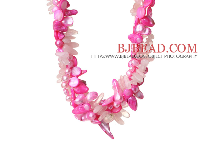 Popular Nice Twisted Peach Pearl Shell Rose Quartz and Manmade Crystal Necklace with Moonight Clasp