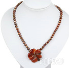 brown pearl agate flower necklace with lobster clasp