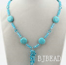 Sky Blue Crystal and Turquoise Necklace