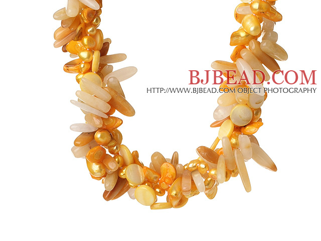 Popular Nice Twisted Yellow Pearl Shell and Yellow Crystal Necklace with Moonight Clasp
