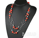 red coral white pearl necklace with metal loop
