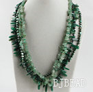 gorgeous multi strand green pearl and aventurine necklace