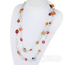 fashion costume jewelry 51.2 inches agate necklace with metal loop