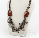 exquisite smoky quartze gold swan stone necklace