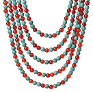 New Gorgeous Five Strands Round Carnelian and Blue Turquoise Beaded Necklace under $ 40