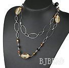 fashion 39.4 inches pearl crystal and colored glaze necklace under $ 40