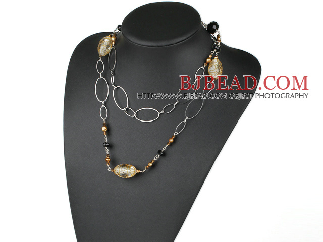 fashion 39.4 inches pearl crystal and colored glaze necklace