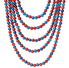 New Gorgeous Five Strands Round Blue Agate and Carnelian Beaded Necklace