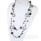 fashion long style pearl crystal and indian agate necklace