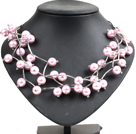 Trendy Style Multi Strand Pink Purple Seashell Beads Twisted Necklace With Bending Alloyed Tube under $ 5
