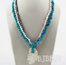 Multi Strand White and Black Freshwater Pearl and Blue Turquoise Necklace