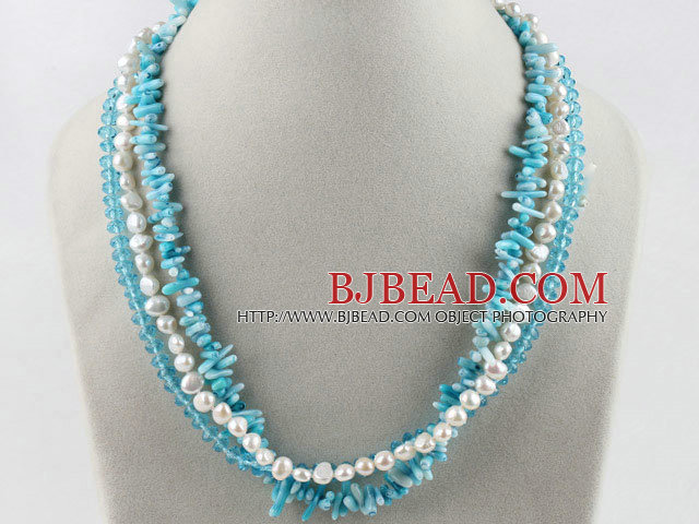 fashion three strand white pearl blue crystal and coral necklace