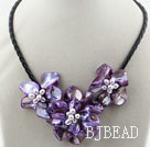 pearl and dyed purple shell flower necklace with magnetic clasp