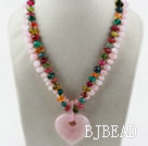 Two Strands Rose Quartz and Multi Color Quartz Necklace with Heart Shape Pendant