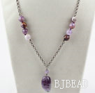 Simple Style Amethyst Necklace with Metal Chain and Lobster Clasp
