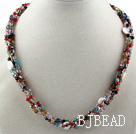 Assorted Multi Strand Multi Color Crystal Necklace with Monnlight Clasp
