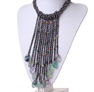 2014 Gorgeous Vintage Style Black Pearl Fluorite and Indian Agate Party Necklace with Tassel