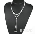 Simple Design Gray Screw Freshwater Rice Pearl Necklace with White Cord