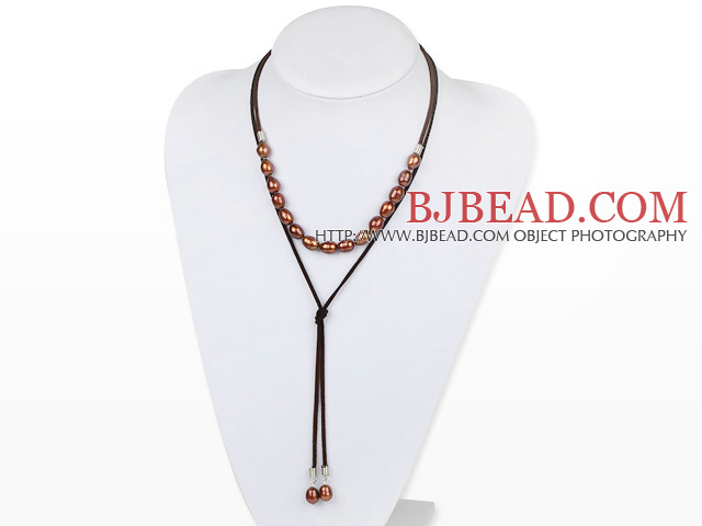 Simple Design Brown Screw Freshwater Rice Pearl Necklace with Light Brown Cord
