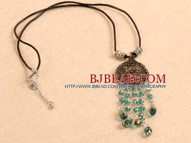 Simple Retro Style Chandelier Shape Green Crystal Tassel Pendant Necklace With Black Leather