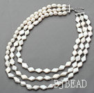 White Series Three Strands Rhombus Shape Rebirth Pearl Necklace