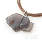 elephant shape gray agate pendant necklace with extendable chain